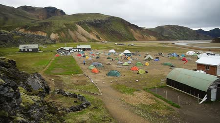 sátor : Campsite with tents in Landmannalaugar, Iceland, Europe