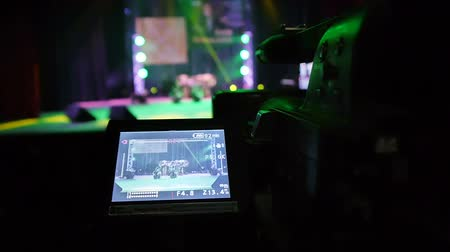 camera operator : Video shown on display of professional video camera Stock Footage