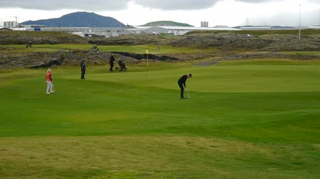 hardened lava : A golf course in Iceland Stock Footage
