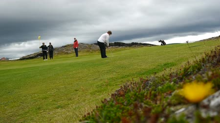 hardened lava : Golf Course on the outskirts of Reykjavik Stock Footage