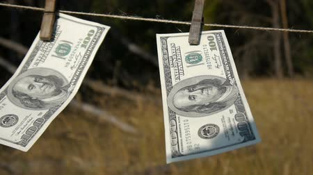 varal : Dollars drying on the rope. The financial concept dollar. The concept of money laundering.