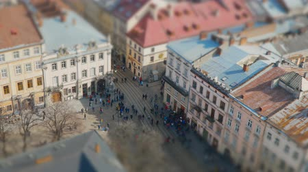 populace : Crowds of people walking in the city with tram traffic. Aerial view over the streets of Lviv, Ukraine. Time lapse, Titl-shift 4K Dostupné videozáznamy