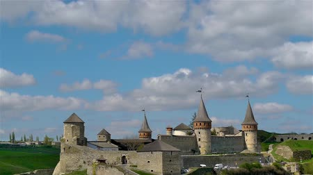wall building feature : Towers of old fortess in Kamenetc-Podilsky, Ukraine. Time-lapse