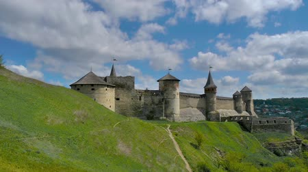 middle age : Medieval fortress in Kamenetc-Podilsky, Ukraine Stock Footage