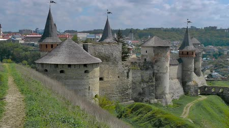 wall building feature : Medieval fortress in Kamenetc-Podilsky, Ukraine Stock Footage