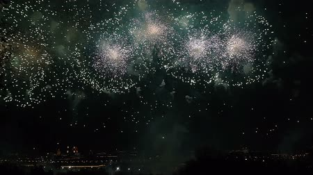 fişekçilik : Amazing Firework Show Russia Moscow. Accelerated Stok Video