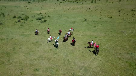 копье : ZHEVTI VODY, UKRAINE - 06.08.2018: Aerial View. The battle between the Polish and Ukrainian troop. Medieval Reenactment