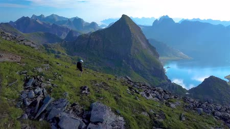 Aerial view of The girl comes down from the top of the mountain. Beautiful view of the peaked tops of the Lofoten Islands. Norway 4k