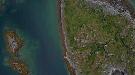 Flight over many small islands in the Norwegian Sea. Lofoten Islands. Norwey 4k Wideo
