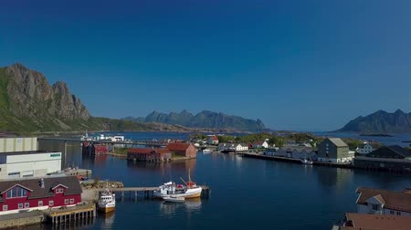 Aerial view of fishing village in Norway, Svolver. It is a popular tourist and administrative center on the Lofoten Islands. 4k Stok Video