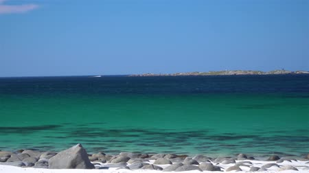 Sandy beach on the Atlantic coast in Norway. Stok Video