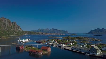 Aerial view of fishing village in Norway, Svolver. It is a popular tourist and administrative center on the Lofoten Islands. 4k Wideo