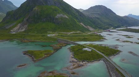 İskandinavya : Aerial view of amazing bridges connecting islands on Lofoten archipelago in Norway, popular tourist destination. Fredvang Bridge.