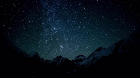 astro : Timelapse of The movement of the stars in the night sky over Everest. Nepal. Himalayas. 4K