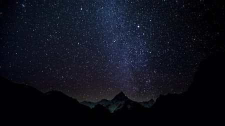 starlit : Timelapse of The movement of the stars in the night sky over Himalayas. Nepal. 4K