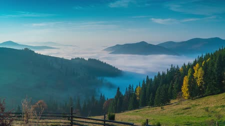 dumanlı sis : Time lapse. Fantastic mountain landscape and Clouds moving in the valley. Carpathian, Ukraine Europe