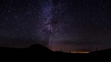 alpes : The Milky Way is moving in the night sky over the silhouettes of trees. Timelapse. 4K