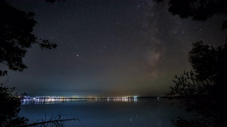 starlit : The Milky Way moves in the night sky and is reflected in the river. Timelapse. 4K