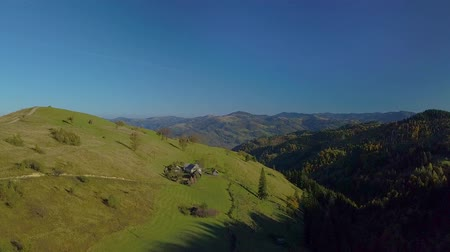 karpaty : Aerial view of Carpathian mountings in summer. Carpathian national homestead is located on a beautiful green meadow. 4K Dostupné videozáznamy