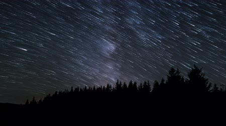 starlit : Time lapse of Star trails in the night sky. 4K Stock Footage