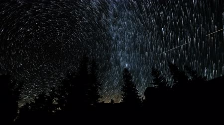 starry sky : Time lapse of Star trails in the night sky. 4K Stock Footage