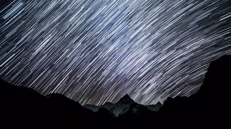 starlit : Time lapse of Star trails in the night sky. Starry night in the Himalayan mountains. Himalayas. 4K