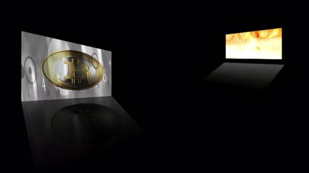 richness : Financial concept with golden Bitcoins on forex chart background Stock Footage
