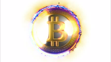 richness : 3D Gold Financial concept with golden Bitcoins