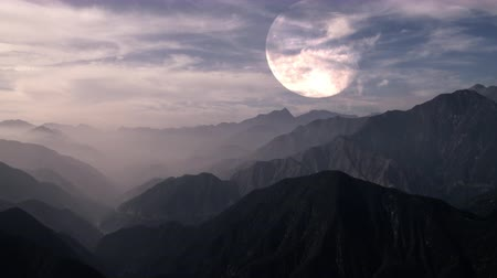 solar : time lapse of full moon with clouds Stock Footage