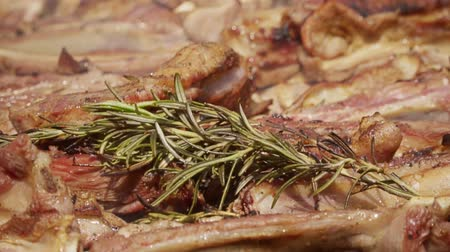 costela : Meat lamb rib on grill with rosemary, pepper and salt Stock Footage