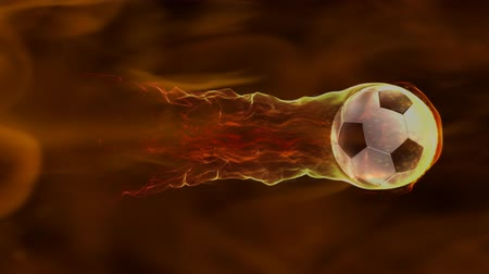 вратарь : Soccer ball flies in fire flow, 4k 3d animation
