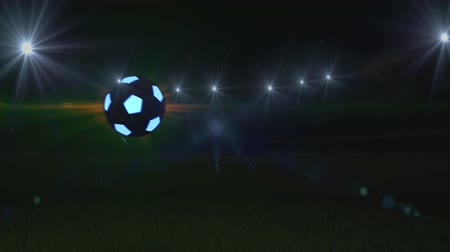 bola de fogo : Soccer ball flies on soccer field, 4k, animation