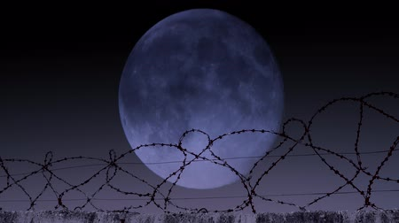sürgün : Barbed wire in the background of the moon