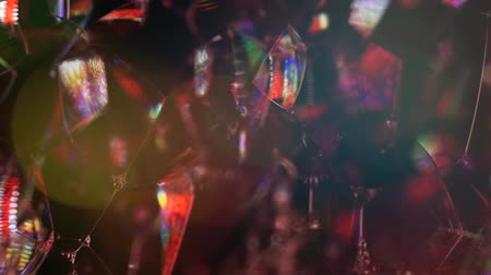 christmas background : Multicolored lights with bokeh. Abstract background. Soap foam party.