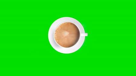 kafeterya : Top view. Cup of coffee with trickle of steam. Animated on green background