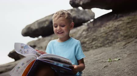 bird learning : Boy in the mountains reading a book
