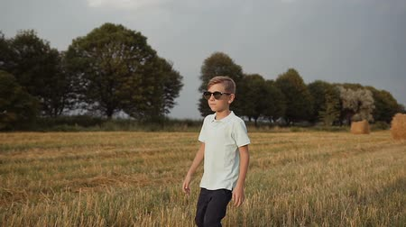 dardo : A child in the field. A boy in his glasses looks at the sunset