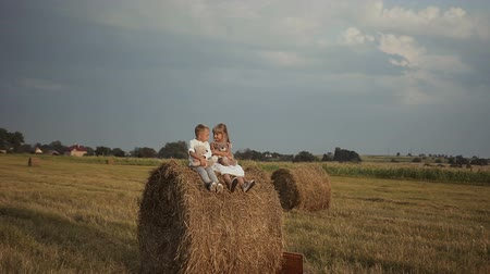 balé : Two young children sit on bales with straw and play toys. Happy and funny children.