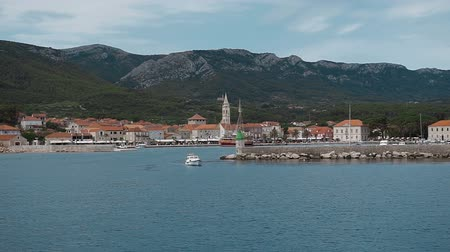 turkuaz : Beautiful view from the ship on motorboats standing in the sea and magnificent views of the old town of Hvar. Hvar Island Croatia