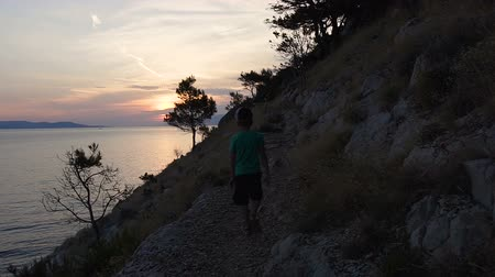 волнение : A good guy comes from the beach on a rocky mountain overlooking the sea and admiring the sunset. Dalmatia. Croatia Стоковые видеозаписи