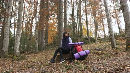 hátizsákkal : Young beautiful woman tourist sitting on halt in forest. Beautiful brunette tourist girl sits in the forest near her red backpack. , Autumn tourism concept