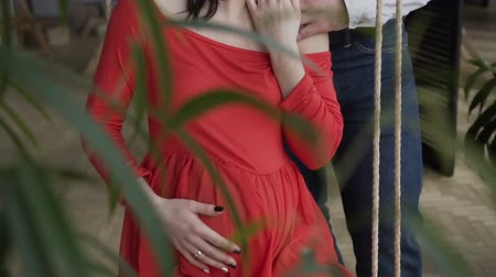 Close up. A pregnant woman in a red dress sits on the swing and touches her abdomen, and her husband stands behind her hugs her and says something fun. Pregnancy concept, happy family, soon mother
