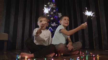 bengálsko : Beautiful guys sitting on a floor near a Christmas tree and holding a burning sparkling bottle and happily smiling Dostupné videozáznamy