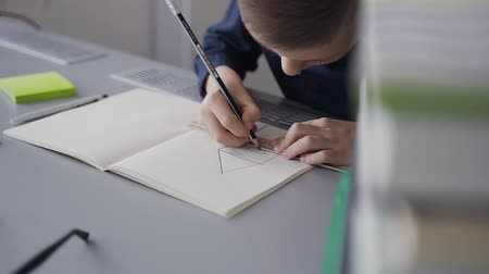 scholar : A big plan for a student who sits at the table and performs a homework assignment. A pupil draws a picture. The boy has a ruler, pencil and album for drawing