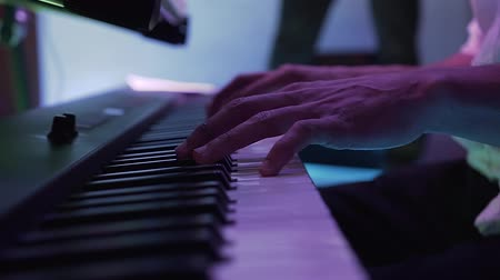 performer : The man plays keyboard at an party disco in the restaurant