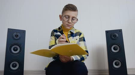 oturur : The blonde little boy in glasses with textbook sits on floor at home and records something in there interesting at notebook. The pupil does the job that was asked in school doing at home Stok Video