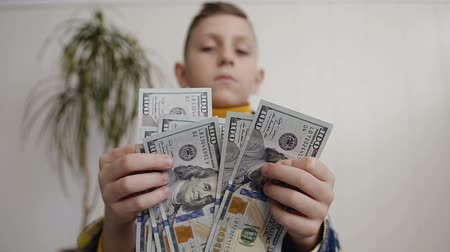 abundância : View of boy Counting Many American 100 bills. The little boy counts the American currency. White background, indoor