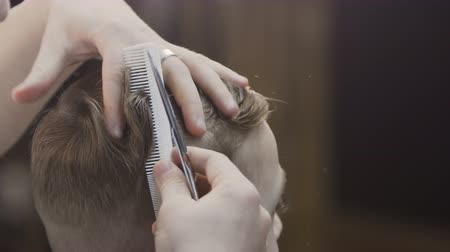 kuaför : Close up of Hands of the hairdresser who cuts the hair of the guy in the hairdressing salon. Barber cutting hair with hair scissors and comb Stok Video