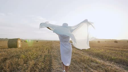 balen : Back view. Beautiful girl in dress with chiffon scarf running around the field to sunset and raising hands - at summer time. Young girl running on the field with a blue scarf