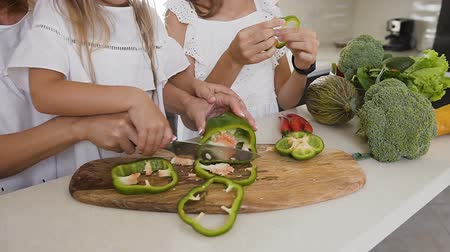 biber : Close-up shot hands of the woman and her daughter using kitchen knife learning to cut the green pepper vegetable preparing a food at home in the kitchen. Mom teaches her daughter to chop the vegetables with a knife